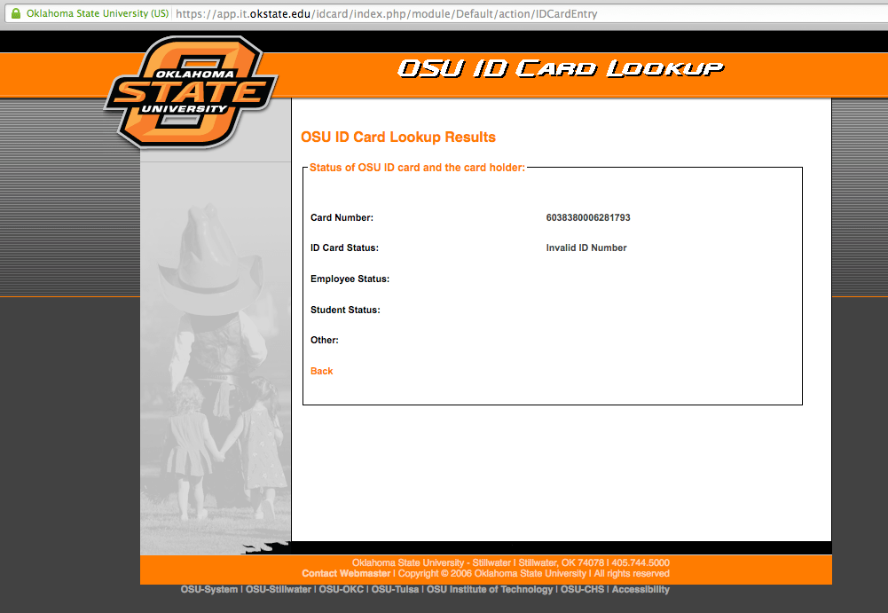 Hacking Oklahoma State University's Student ID